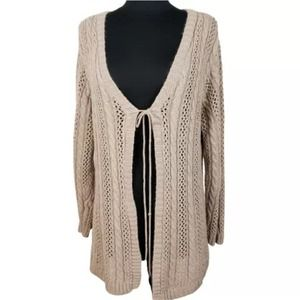 4/$24  Sonoma Brown Open Knit Cardigan Sweater
